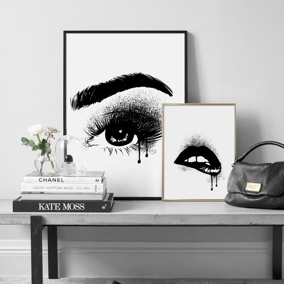 Watercolor black white lips charming eye nordic posters and prints wall art canvas painting wall pictures for living room decor
