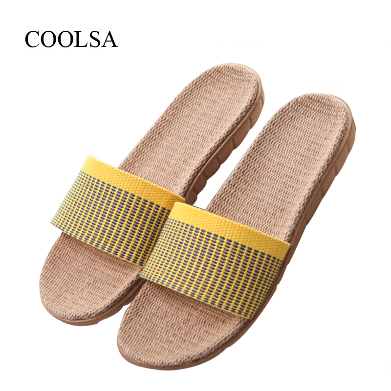 COOLSA Women's Summer Non-slip Indoor Linen Slippers Beach Flip Flops Women Fashion Flax Slippers Designer Slippers Women Slides coolsa women s summer flat non slip linen slippers indoor breathable flip flops women s brand stripe flax slippers women slides