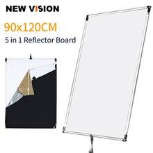90x120 cm 35in x 47in Zon Scrim Grote 5in1 Zwart Zilver Goud Wit Diffuser Reflector Aluminium Frame voor Fotografie