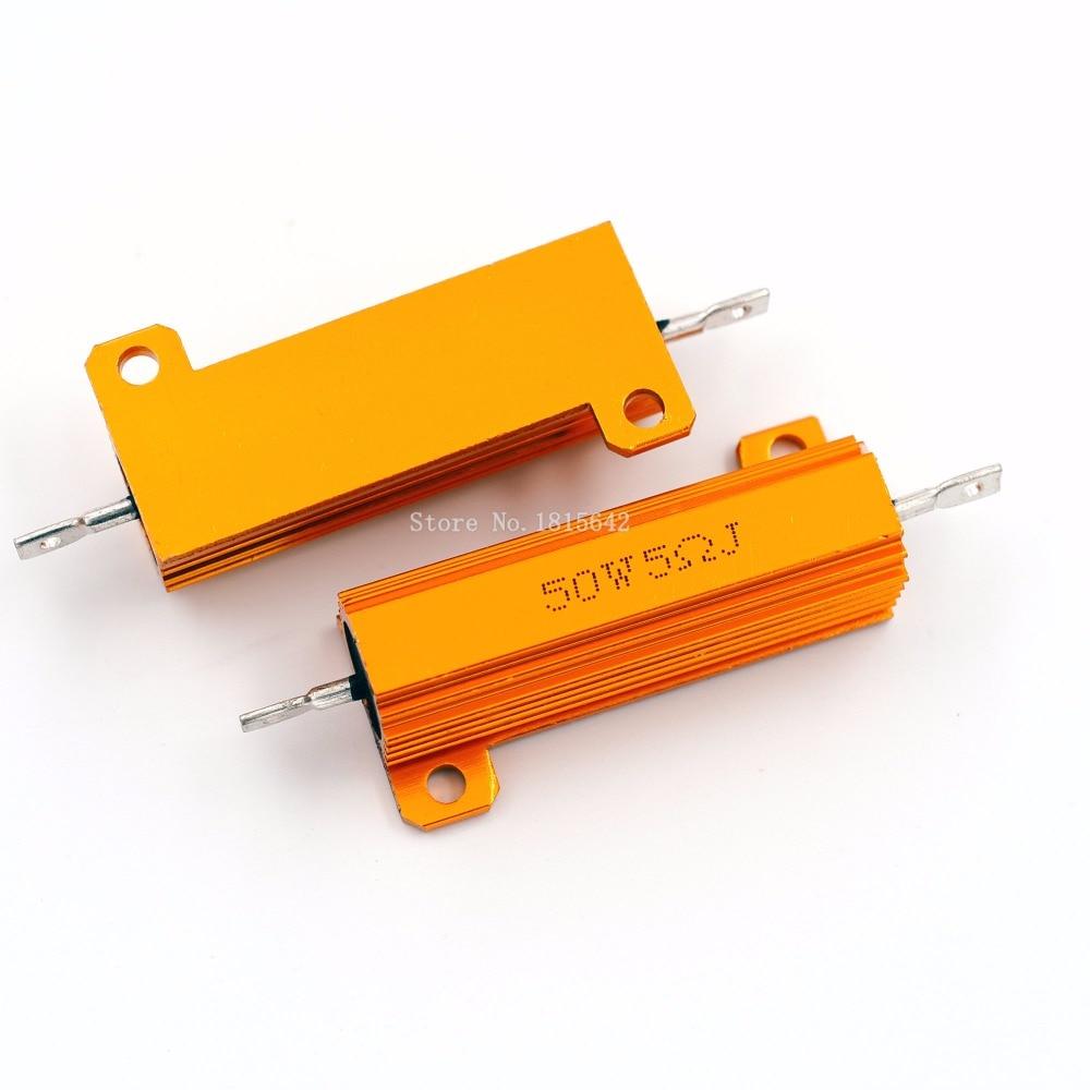 RX24 50W 5R 5RJ Metal Aluminum Case High Power Resistor Golden Metal Shell Case Heatsink Resistance Resistor 5 Ohm 50w