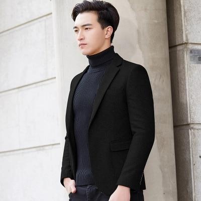 Nieuwe Mode Casual Mannen Blazer Wol Slim Fit Smart Stijl Pak Blazer Masculino Mannelijke Past Jasje Blazers Mannen M 4XL - 2