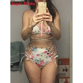 Floral Bikini Set High Waist Swimsuit Cut Out Swimwear Female Bandage Retro Bathing Suit Swimming Suit Women Biquini Plavky 2