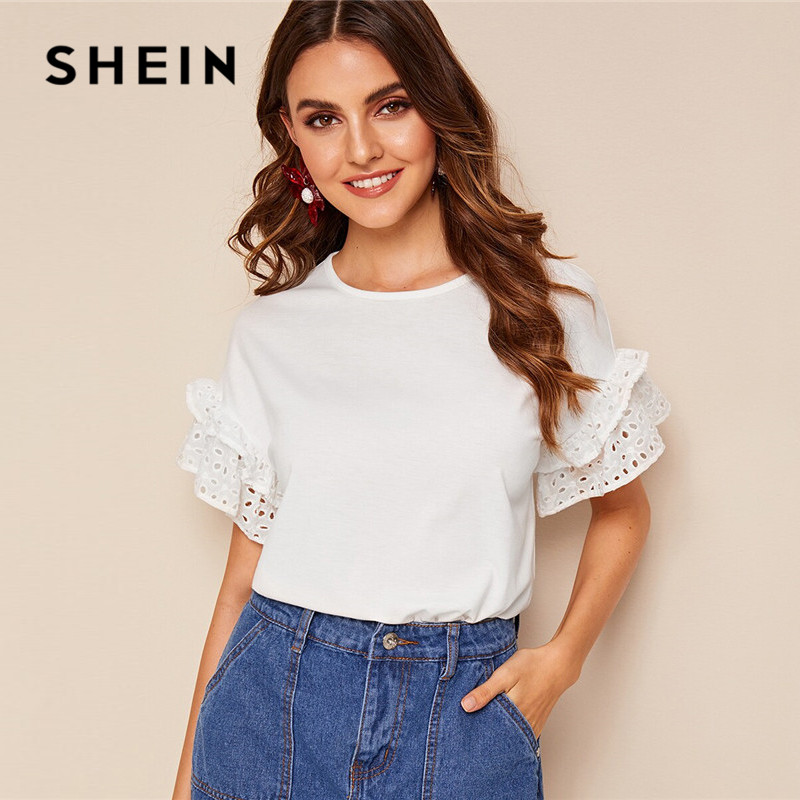 SHEIN Schiffy Ruffle Trim T Shirt Women Clothes 2019 Short Sleeve Round Neck White T Shirt	Flounce Sleeve Solid Cute Ladies Tops