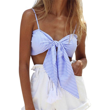 Striped Tie Crop Top Cropped For Women Summer Tops 2017 Sexy Bralette Short Camisole Spaghetti Strap Tank Top Party Beach Camis