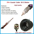 20 Meters Black 50ohm 50-5 Ultra Low Loss Coaxial Cable for Connecting Cell Phone Signal Booster to Power Splitter or Antenna