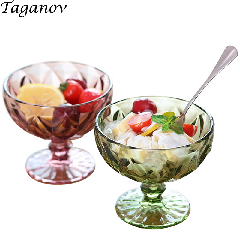 Ice Cream Holder Glass Bowl 300 ml 3 PCS Engraving Dessert Salad Glass Cake Milkshake Juice Cup European Vintage Ice Trays Party in Other Dessert Tools from Home Garden