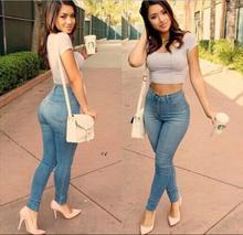 Новые Женщины Синий Цвет Джинсы Брюки С Плюс Размер Мода Высокой Талии Эластичные Узкие Джинсы Карандаш Брюки