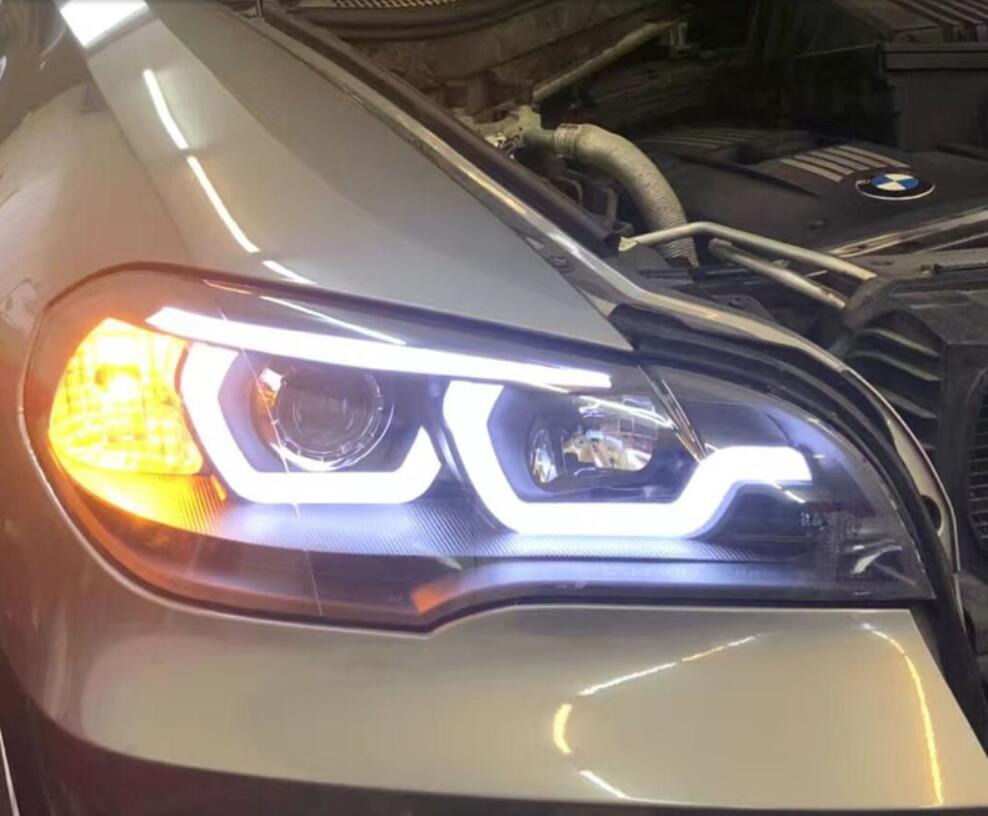 2pcs Car Styling for X5 e70 2007~2013 Headlight for X5 Head Lamp Auto LED DRL hi/lo Beam HID Xenon bi xenon lens