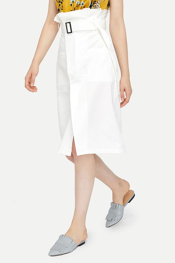 Moda Longitud Rodilla Blanco Falda Europea Mezclilla Alta Cinturón De Diseño 2018 La Split Frontal Cintura Con Ruffles Mujeres azqSff