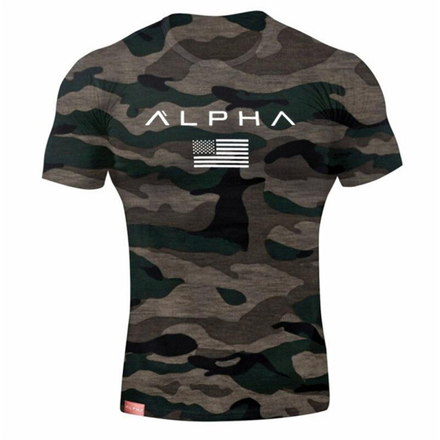 ALPHA Mens Brand gyms t shirt Fitness Bodybuilding Crossfit Slim Cotton Shirts Men Short Sleeve workout male Casual Tees Tops