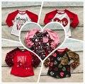 Dia dos namorados amor leopardo três quater cotton boutique bebê meninas vermelho bonito top T-shirt roupas reglans seta coração impressão
