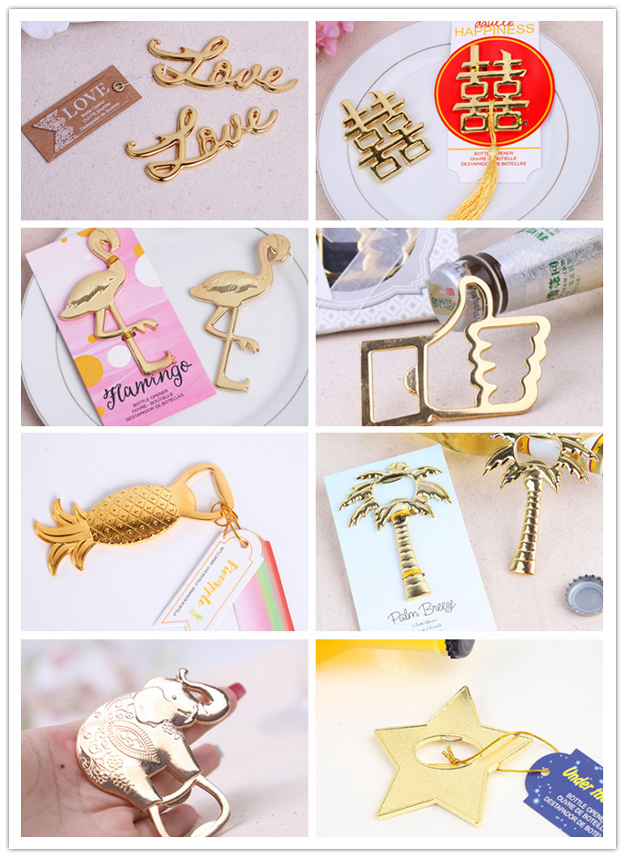 100pcs/lot zinc alloy golden beer bottle opener wedding party table decoration supplies, bridal shower giveaway gifts
