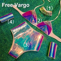 Holographic Burning Man Rainbow 4 piece Suit Rave Festival Outfits Women Celebrity Birthday Rave Costume Singer Dance Wear