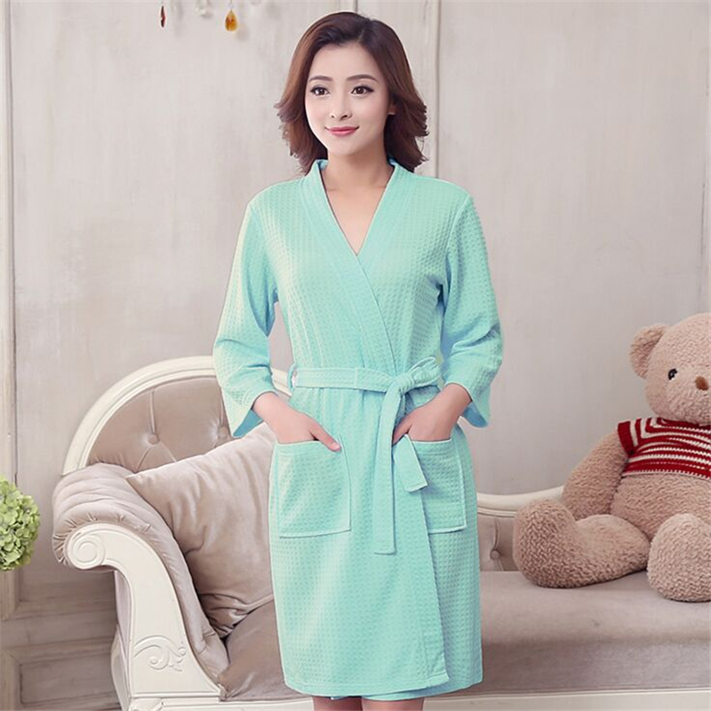 2018 Hot Sale Woman Waffle Robes Woman Cotton Bathrobe Summer And Autumn Femme Sexy Peig ...