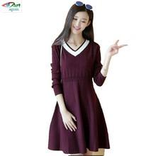 JQNZHNL 2017 New Autumn Winter Women Knitted Dress Elegant Temperament V neck Long sleeved Dress Korean
