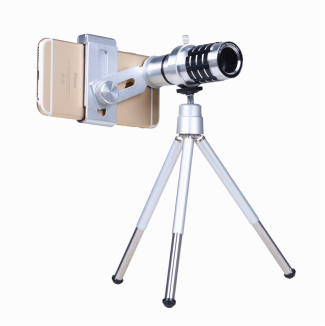 2017 Universal Clips Phone Camera Lentes Kit 12x Telephoto Lens Zoom Telescope With Tripod For iPhone 6 6s 7 Xiaomi Smartphone