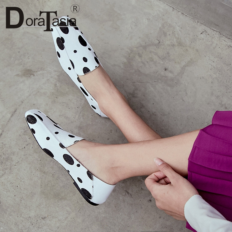 DORATASIA Brand New Big Size 33-42 Polka Dot Women's Horsehair Loafers Shoes Woman Casual Party Office Spring Autumn Flats