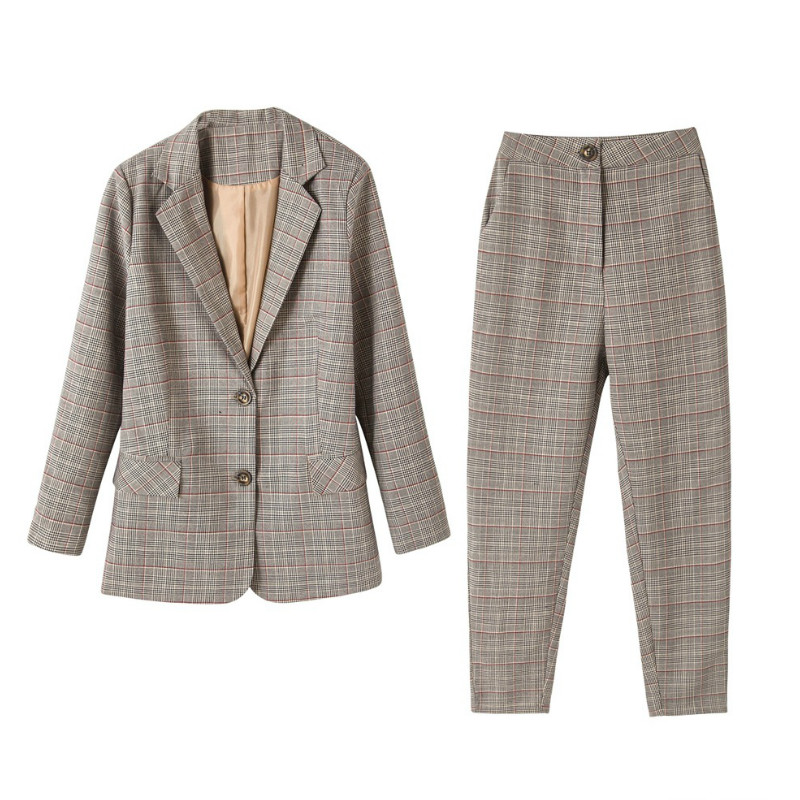 Women's Suit Pantsuit Casual Office Long Sleeve Plaid Suit Jacket Female Temperament Casual Pants Suit 2019 High Quality