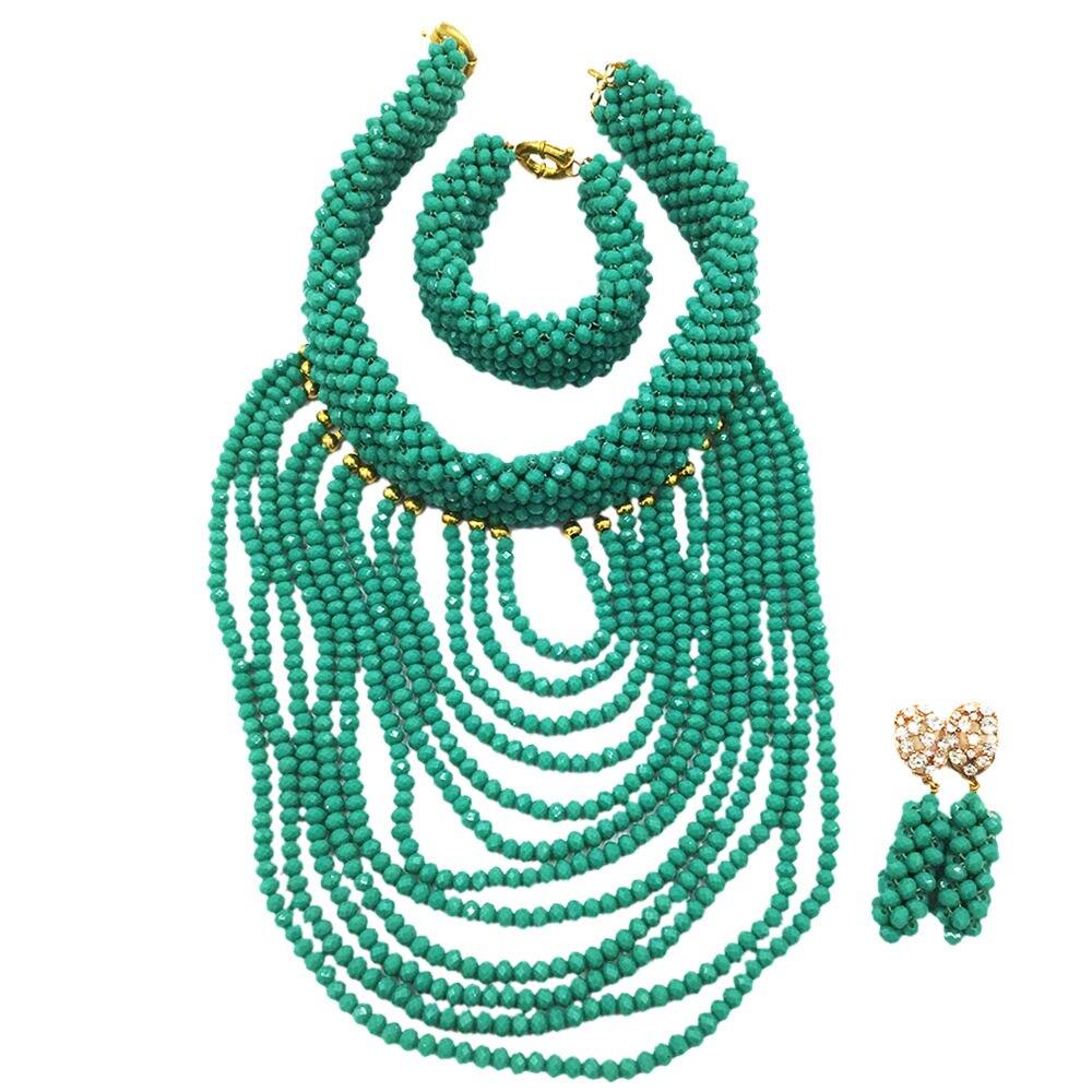 2018 classique Cyan vert or déclaration de mariage collier ensemble africain nigérian perles de mariée bijoux ensemble Wmoen fête cadeau WDK-008