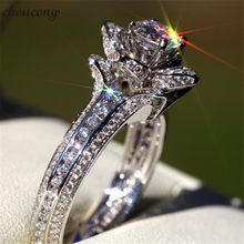 Choucong Elegante Flor forma AAAAA cz Wedding Band Engagement Promise Ring 925 Prata Esterlina Anéis Para As Mulheres De Jóias de Noiva(China)