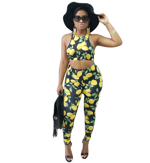 1f5679ac174f9 2018 Fall New Lemon Fruit Print Two Piece Bodycon Jumpsuit For Women Crop  Top And Long Pants Set Bodysuit Sexy Overalls Club