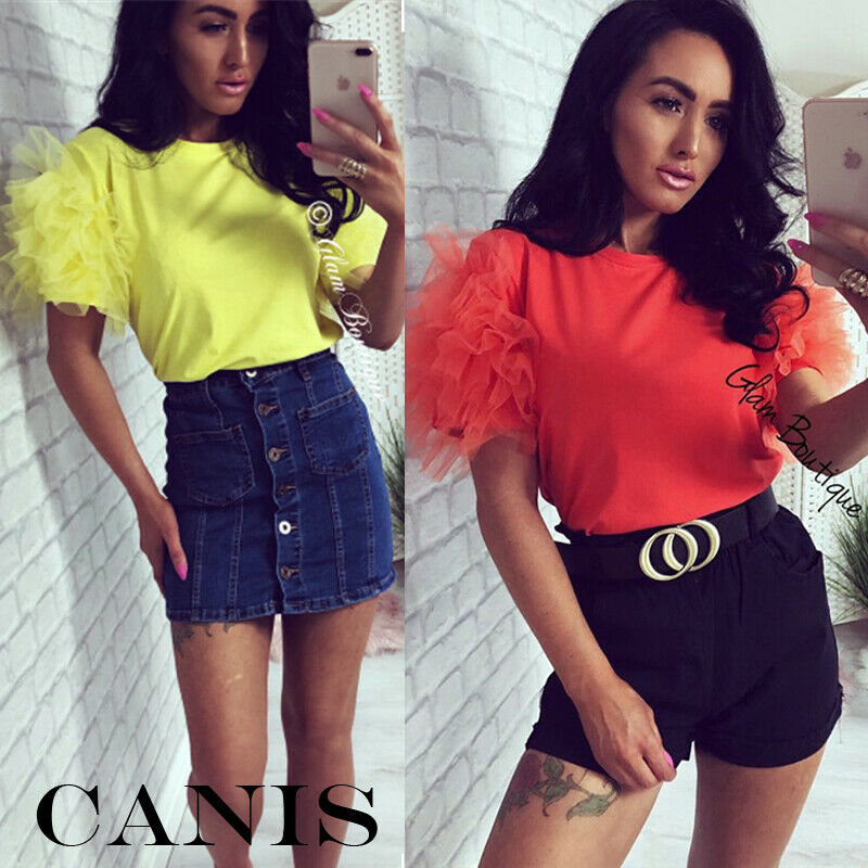 US Women Tulle Ruffle Short Sleeve Mesh Tee Tops Ladies Crew Neck Party Loose Casual   T     Shirt   Clubwear
