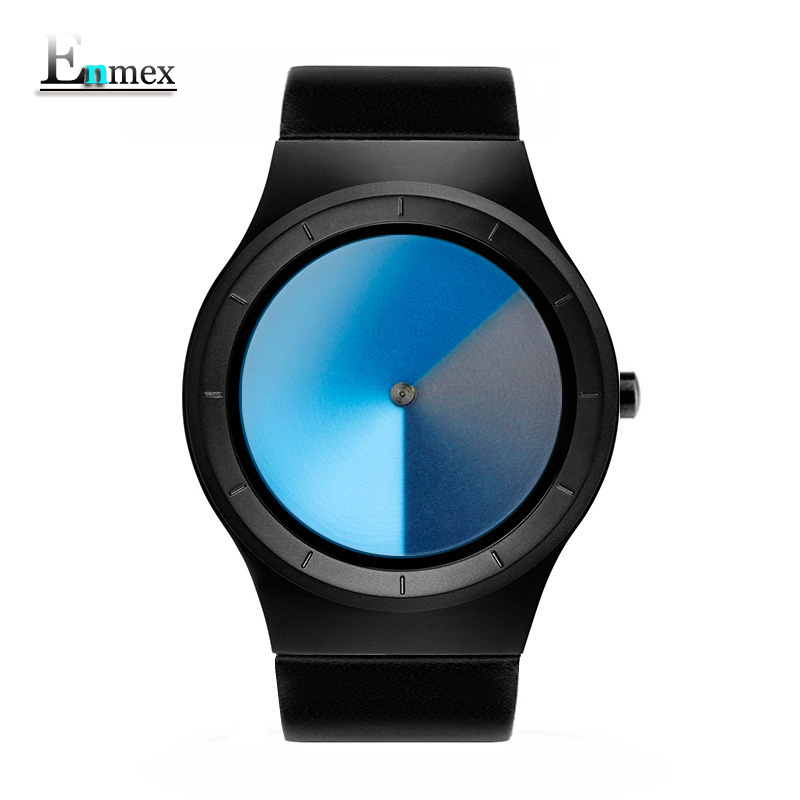 men's gift Enmex special design wristwatch creative leather blue vortex fashion Gradient color young peoples quartz watches gift enmex creative style lady wristwatch gloden 3d vortex face creative design silicone band luminous brief casual quartz watch