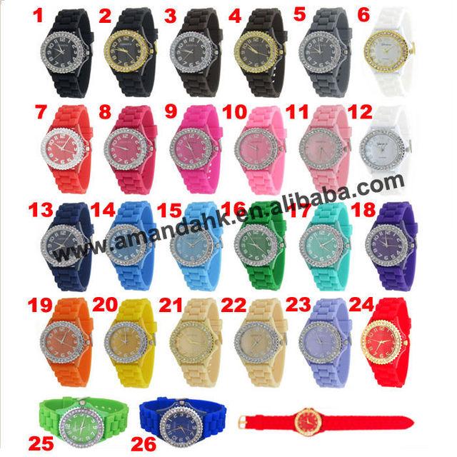105pcs/lot hottest woman rhinestone watch geneva brand fashion dress watch lady classic cheap silicone watches
