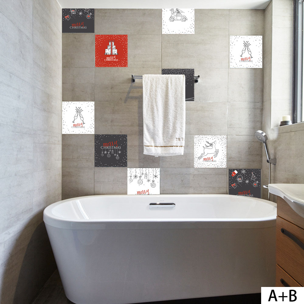 Christmas Retro Tile Floor Sticker PVC Bathroom Waterproof Wall ...