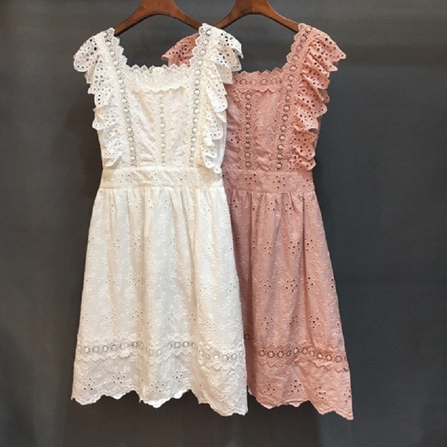 High Quality Cotton Dress 2019 Spring Summer Style Women Square Collar Hollow Out Embroidery Sleeveless White Pink Dress Girl