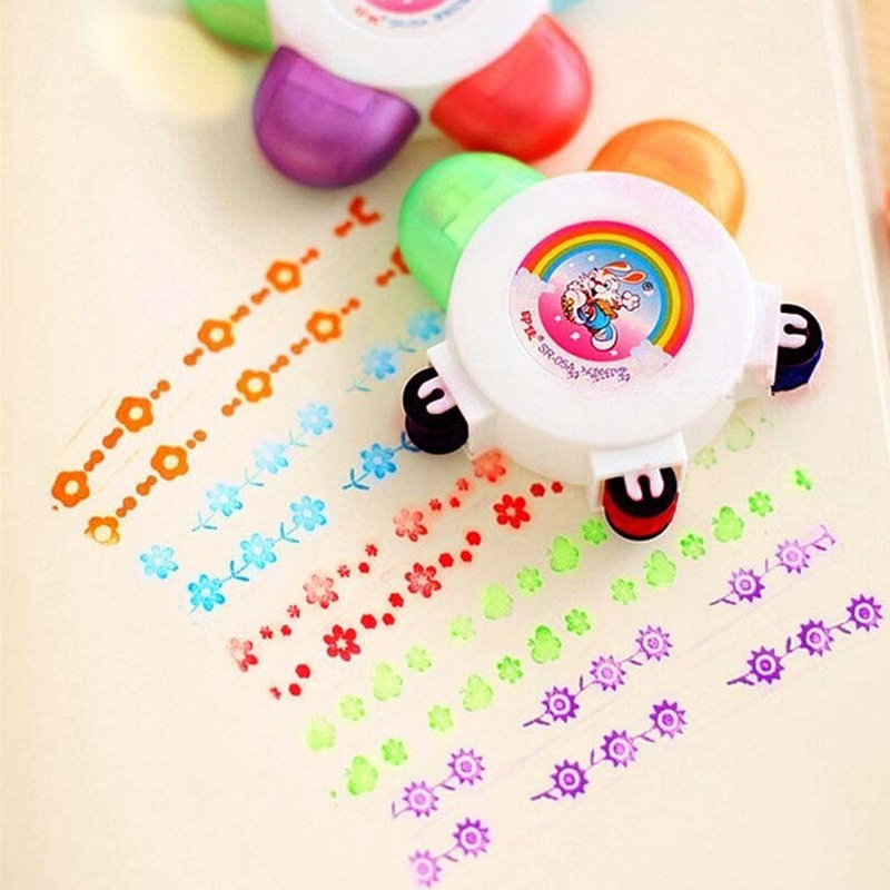 Kids Flower Scroll Stamper Seal Toy Children Custom Plastic Self Inking Stamper Painting Toys