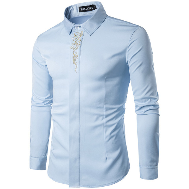 High Quality Men's Shirts 2017 Fashion Turn Down Collar Long Sleeve Embroidery Dress Shirts Men Business Work Tops Shirt S-2XL 5