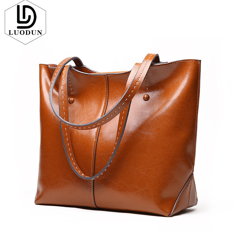 LUODUN New fashion casual Leather handbags Leather Shoulder Messenger Bag Party Literature Simple Fringe Large capacity Ms. bag etersto2018 new casual fashion stitching hit color handbags new fashion handbags parker women s party wallets ms messenger bag