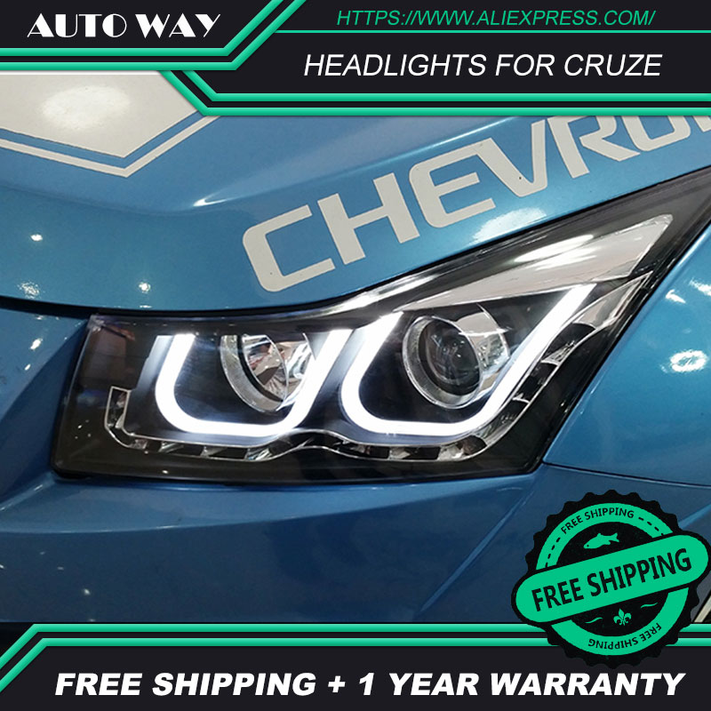 Car Styling Case for Cruze 2009 2010 2011 2014 Headlights Angel Eye LED DRL Lens Double