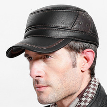 Fibonacci brand quality middle aged mens baseball cap leather patchwork adjustable flatcap autumn winter adult dad hats