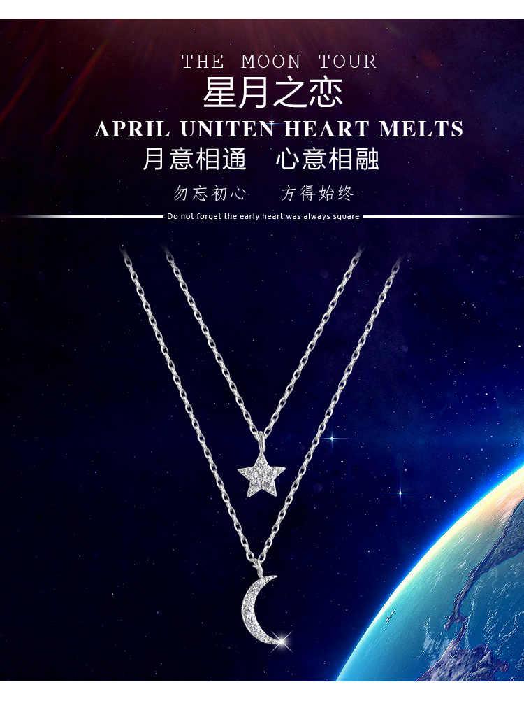 DreamySky 100% Настоящее чистое серебро 925 пробы кристаллическая Звезда Луна ожерелье s для женщин вечерние эффектное ожерелье, цепочка подарки для девочек