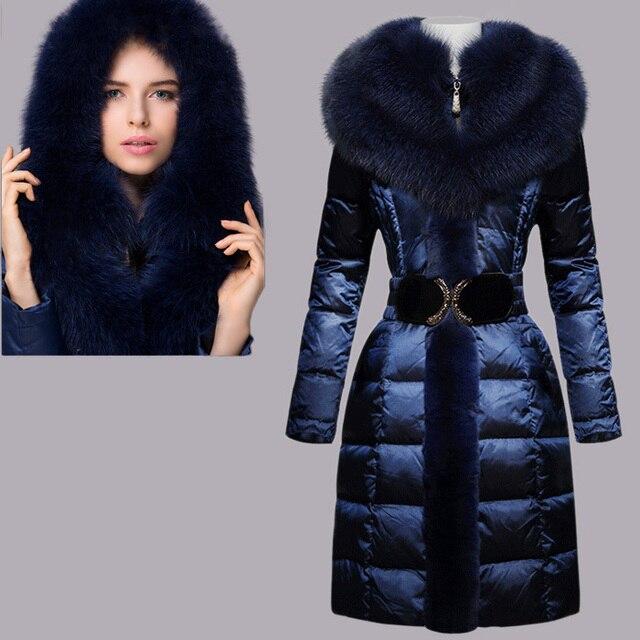 Aliexpress.com : Buy New Womens Luxury Blue Fox Fur Down Jacket