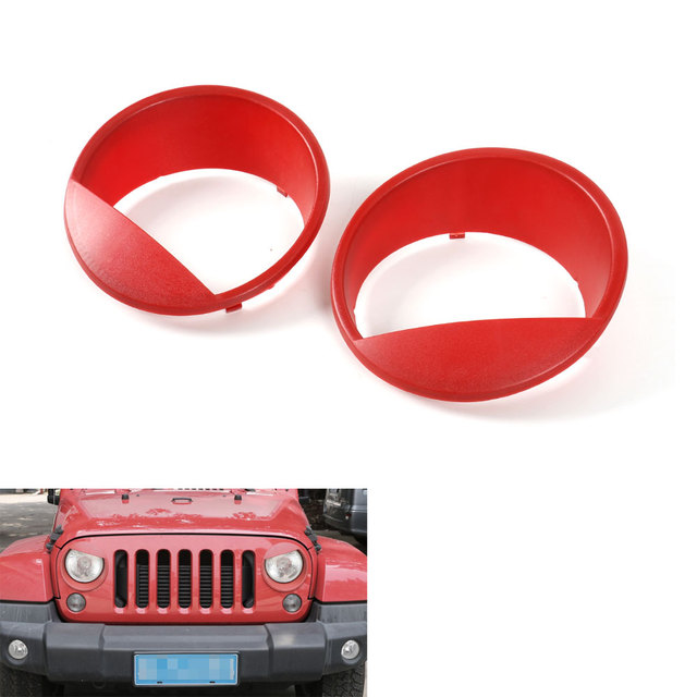 2pcs/set ABS Red Headlight Trim Fog Light Cover Bezels Decoration For Jeep Wrangler JK Rubicon Sahara 2007-2016 Car Styling