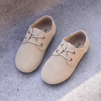 Cowhide Children Sneakers suede leather Boys and Girls lace-up Oxford Shoes Kids casual shoes 1