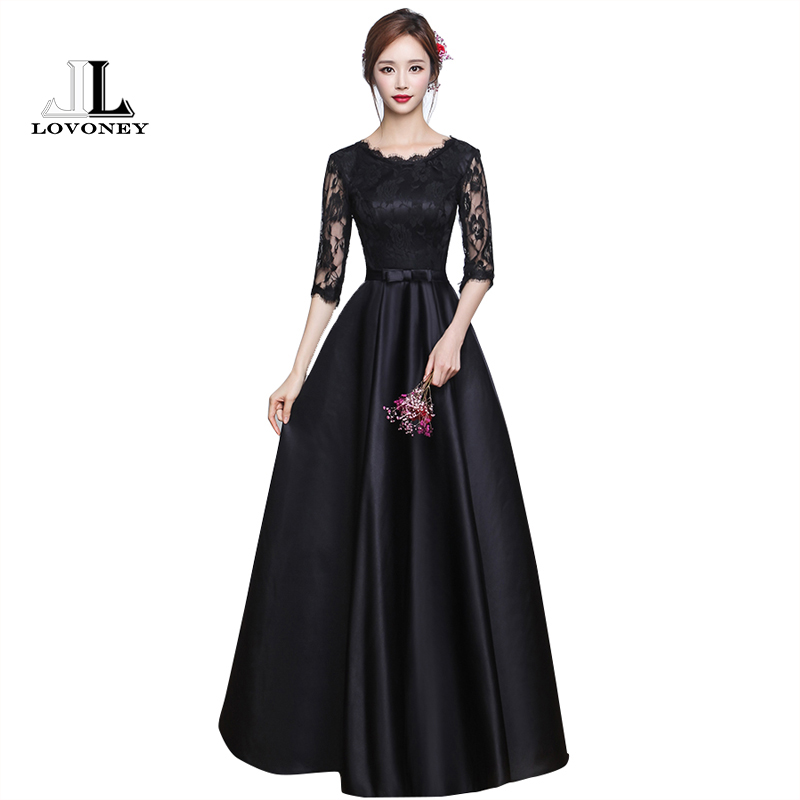 lovoney elegant half sleeves long black lace evening dress