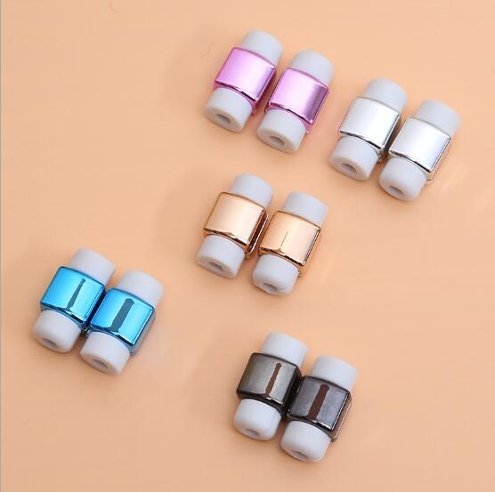 50pcs/lot Fashion Plating USB Charger Cable Earphone Cable Protector For iphone 5 5s 6 7 Headphone cable saver Protection