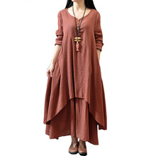 Johnature Cotton Color Women Maxi Dress 2019 Spring New False Two-piece Long Sleeve Round Neck Loose Plus Size Irregular Dress(China)