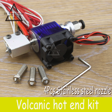 3D Printer parts Volcano kit J-head Hotend for 1.75mm/3.0mm Filament Extruder+4pcs 0.4mm-1.0mm Stainless steel Nozzles Reprap