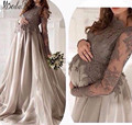 Abendkleider lang 2016 Largos Vestidos de Noche Para Las Mujeres Embarazadas de Encaje de Manga Larga de Organza Vestidos Formales Vestidos de Noche de Maternidad