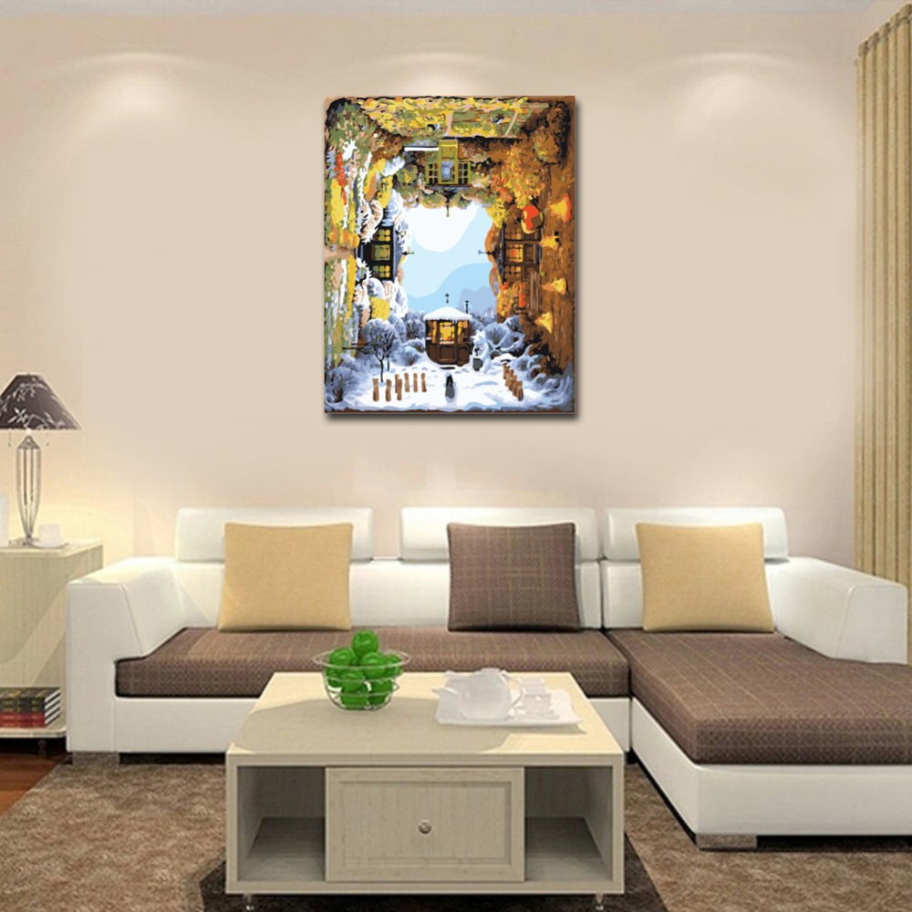 RIHE Rotate Four Seasons Diy Painting By Numbers Oil Painting Cuadros Decoracion Acrylic Paint On Canvas Modern Wall Art Gift in Painting Calligraphy from Home Garden