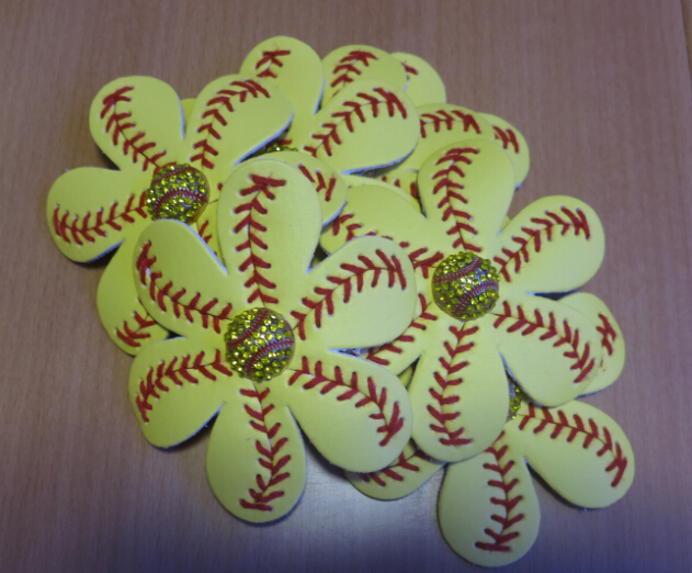 US $140 0 |Flower Softball baseball Hair clip made out of softball hide,  with crystal softball center bling-in Hair Accessories from Mother & Kids  on