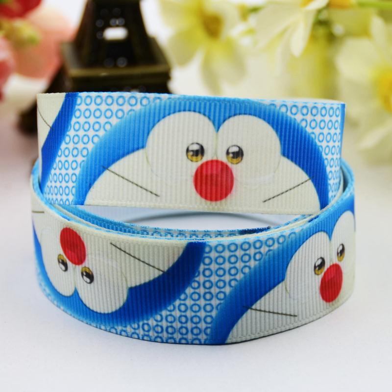 7/8 (22mm) Doraemon Cartoon Character printed Grosgrain Ribbon party decoration satin ribbons OEM X-00587 10 Yards