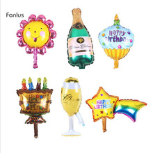 hot deal buy 1pc 35x35cm new champagne cup beer bottle balloons aluminium foil balloon helium ballons for birthday wedding balloons party