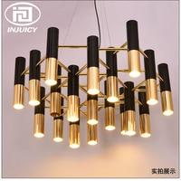 Nordic Post Modern Designer Metal Water Pipe Ceiling Lamp Cafe Lounge Dining Room Villa Retro