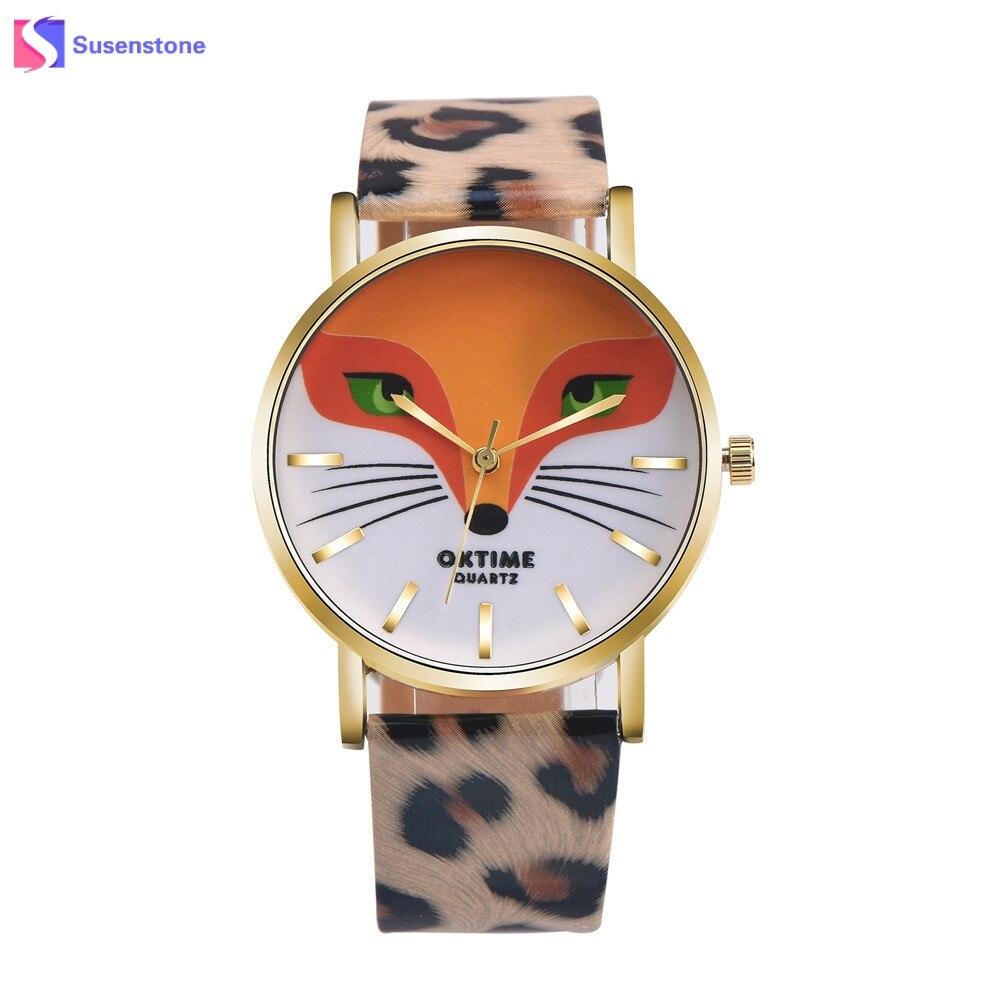 Venta caliente Cartoon Fox diseño hombres mujeres relojes cuero Band analog  Alloy cuarzo reloj Relogio feminino reloj 1222963a8b9c